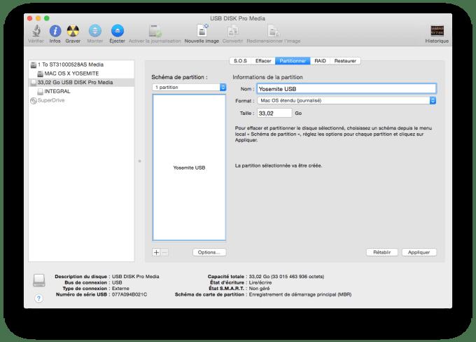 installer Yosemite sur cle USB mac os etendu journalise