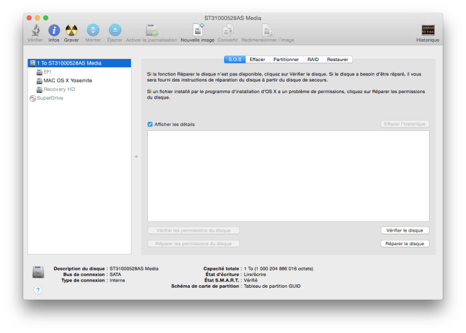 yosemite recovery afficher partition cachee