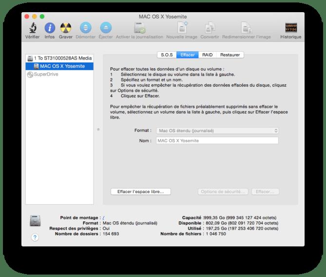 supprimer yosemite formater disque mac