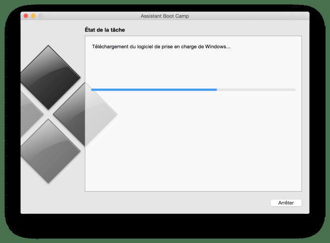 Installer Windows sur un MacBook telechargement du logiciel de prise en charge de windows