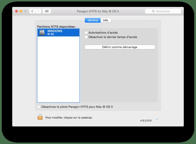 NTFS MAC autoriser lacces au disque