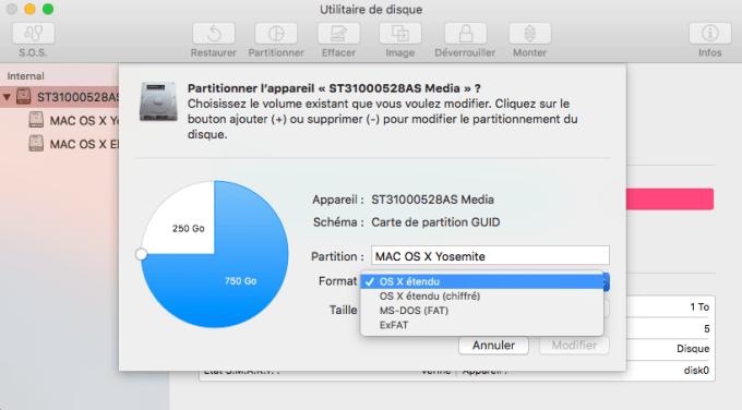 Utilitaire de disque El Capitan partitionner volume