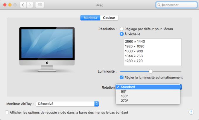 rotation ecran mac choix angle