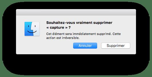 supprimer un fichier sur Mac alt cmd effacer