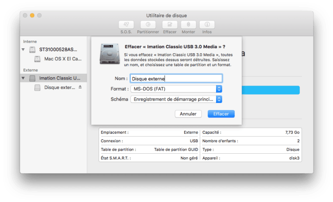 Formater un disque externe Mac msdos fat mbr