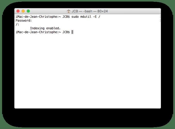 erreur espace disque mac reconstruction index spotlight