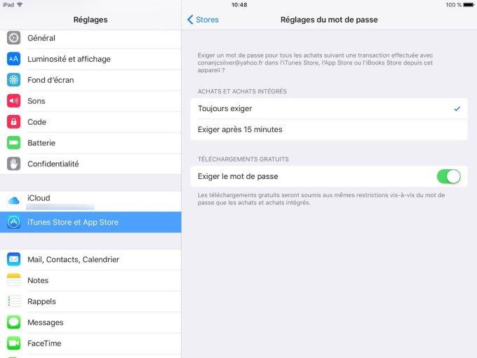 App Store sans mot de passe ios