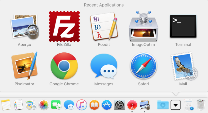 afficher les elements recents dans le dock applications