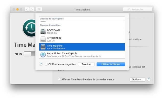 Configurer DiskStation Mac activer Time Machine