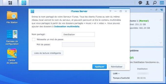 Configurer DiskStation Mac activer itunes server