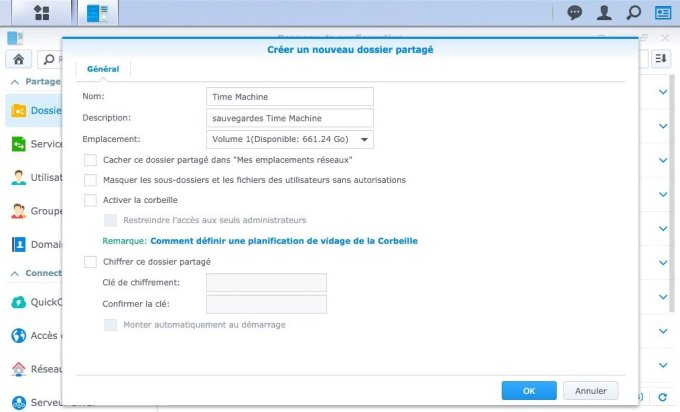 configurer diskstation mac dossier Time Machine