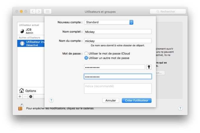 ajouter un compte utilisateur mac standard