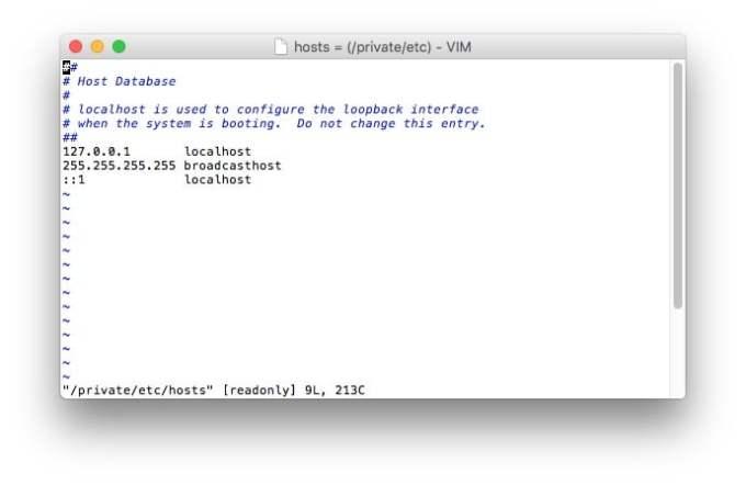 fichiers hosts mac macvim