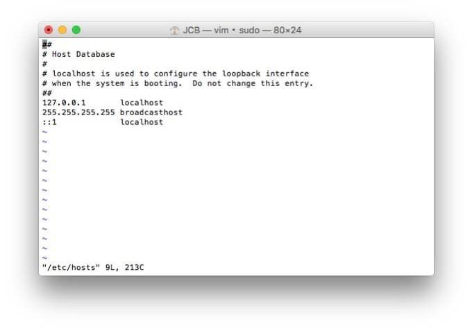 fichiers hosts mac vi
