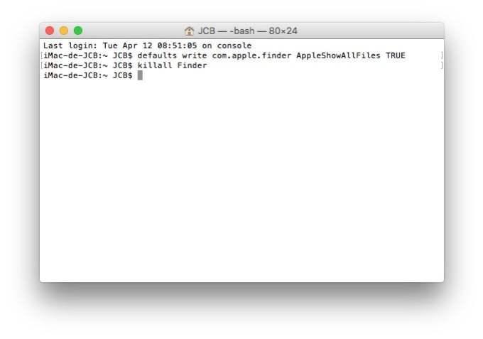 Afficher les fichiers caches Mac voir
