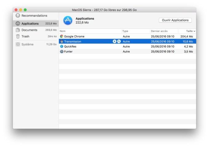 Outil de nettoyage MacOS Sierra supprimer applications