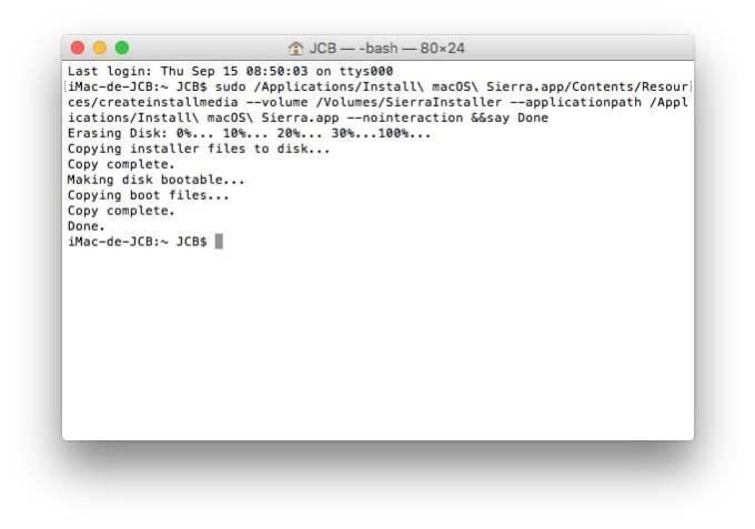 macos sierra creation cle usb bootable terminal fait
