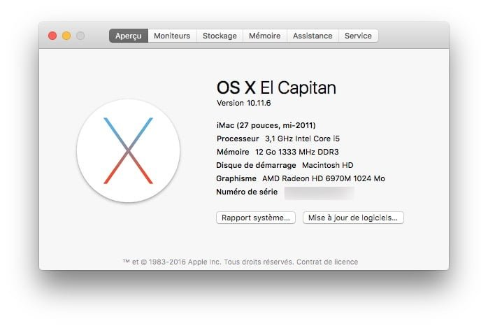 Mac OS X El Capitan 10.11.6 informations