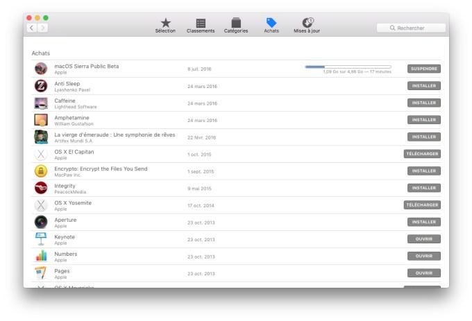 MacOS Sierra beta publique download en cours