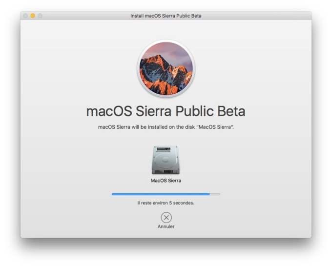 MacOS Sierra beta publique installation en cours