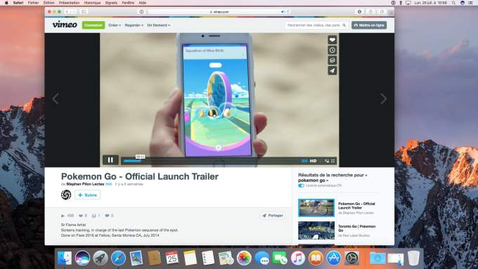 Picture in Picture macOS Sierra vimeo