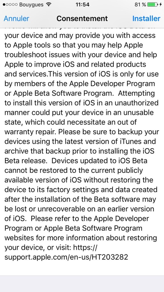 iOS 10 beta publique consentement