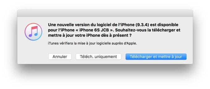 iOS 9.3.4 nouvelle version du logiciel