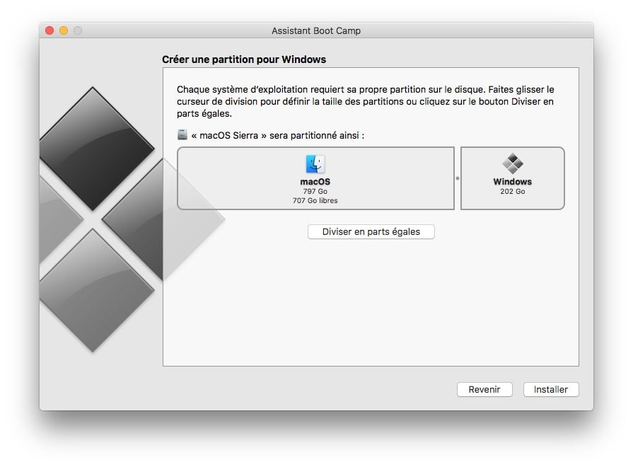 dual boot macOS Sierra Windows 10 creer partition