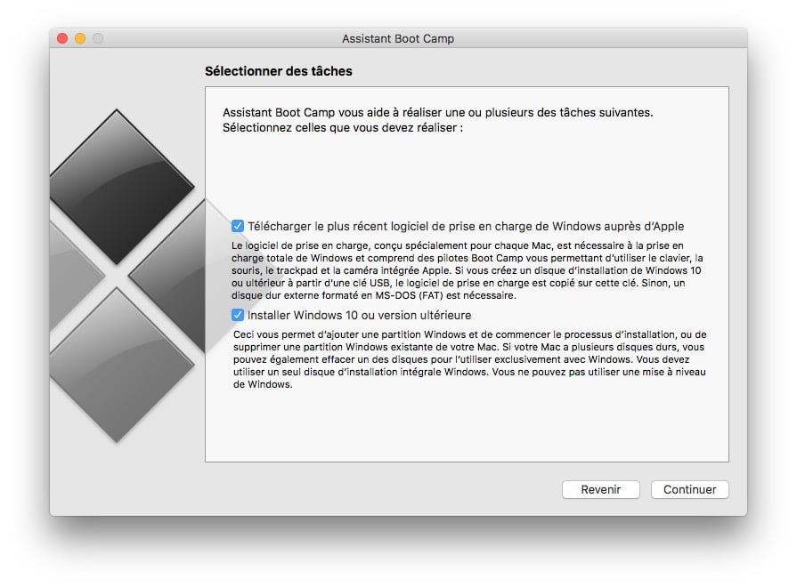 dual boot macOS Sierra Windows 10 selection taches