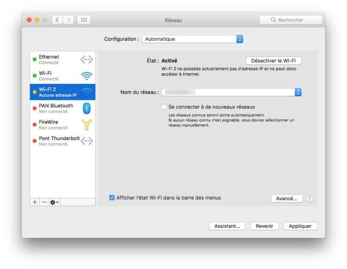 wifi macos sierra proprietes avancees
