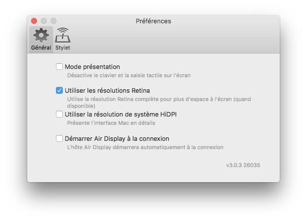 Utiliser un iPad en second ecran preferences air display