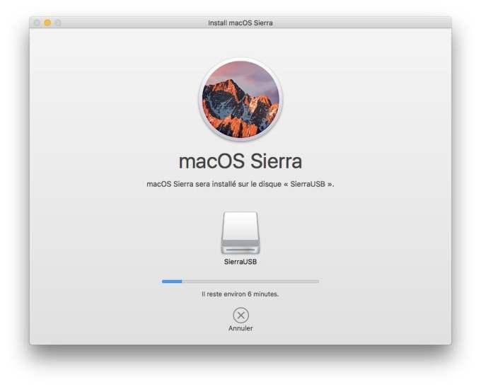 Installer macOS Sierra sur cle USB copie de fichiers