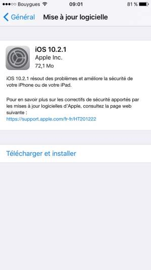iOS 10.2.1 mise a jour iphone