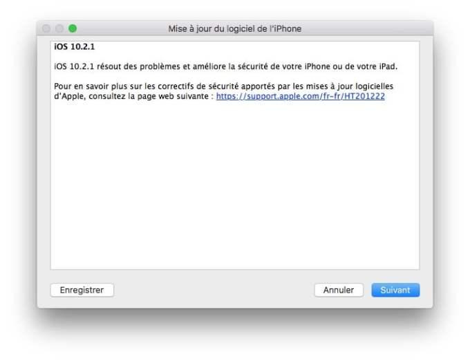 iOS 10.2.1 mise a jour logiciel iphone