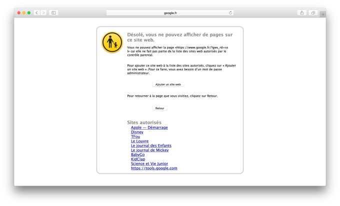 Controle parental Mac blocage web