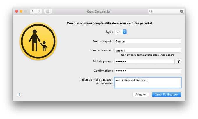 Controle parental Mac configuration compte