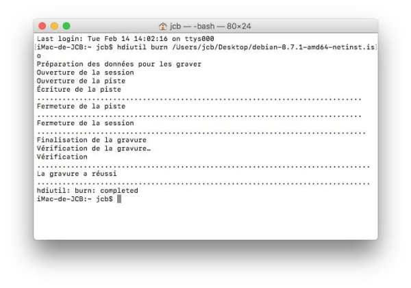 Graver un ISO sur Mac gravure reussi