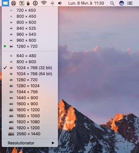 Changer la résolution d'écran de son Mac Resolutionator mode avance