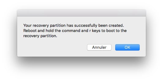 Reconstruire la partition Recovery Mac fin operation