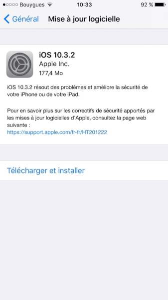 ios 10.3.2 apple correctif