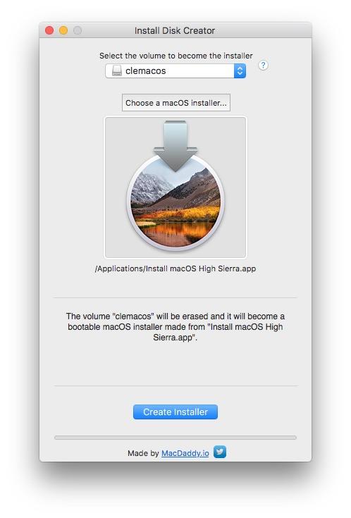 Installation propre macOS High Sierra install disk creator