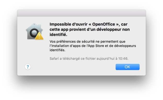 ouvrir les apps non identifiees macOS High Sierra que faire