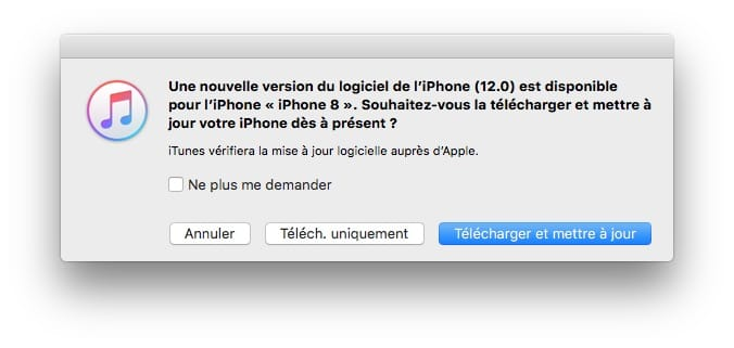 installer ios 12 maj via itunes