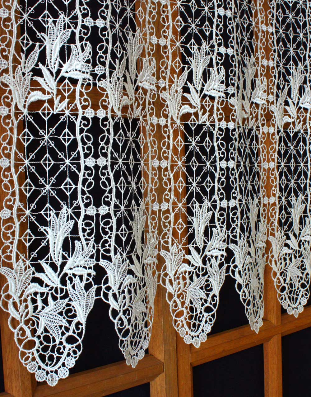 French Lace Floral Macrame Cafe Curtains