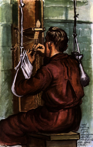 Monk making macrame vestments using a wooden contraption
