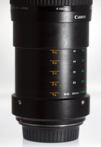 Canon MPE-65mm fully extended to 5x Magnification showing magnification marks