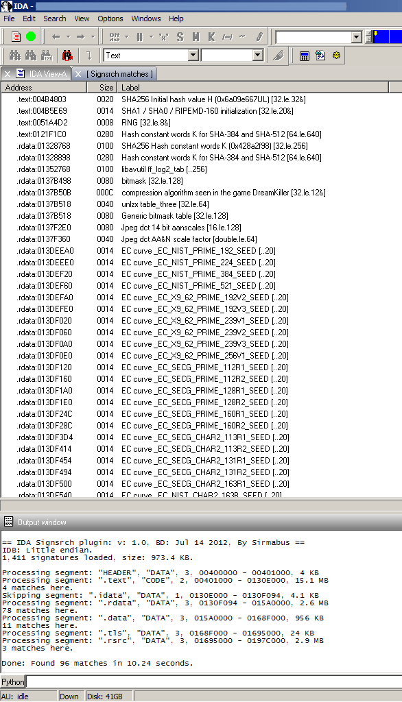 Example IDS Signsrch output
