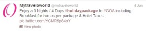 Holday Packages promotion with Twitter