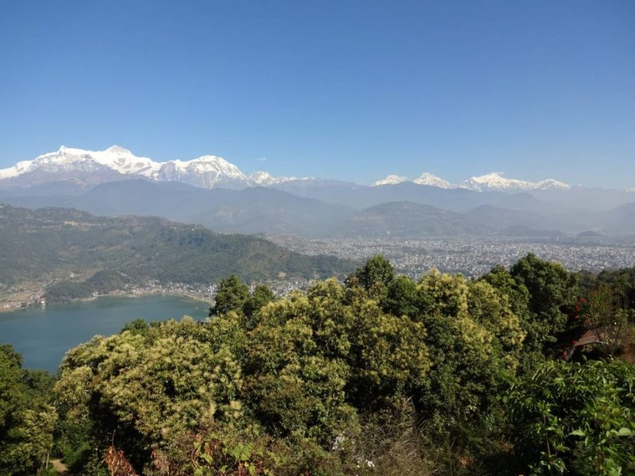 Phewa Lake, with Pokhara in the background