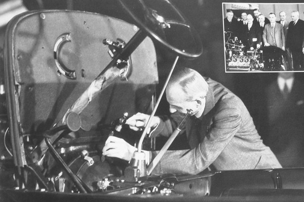 Henry Ford stamping Job One 1932 Ford